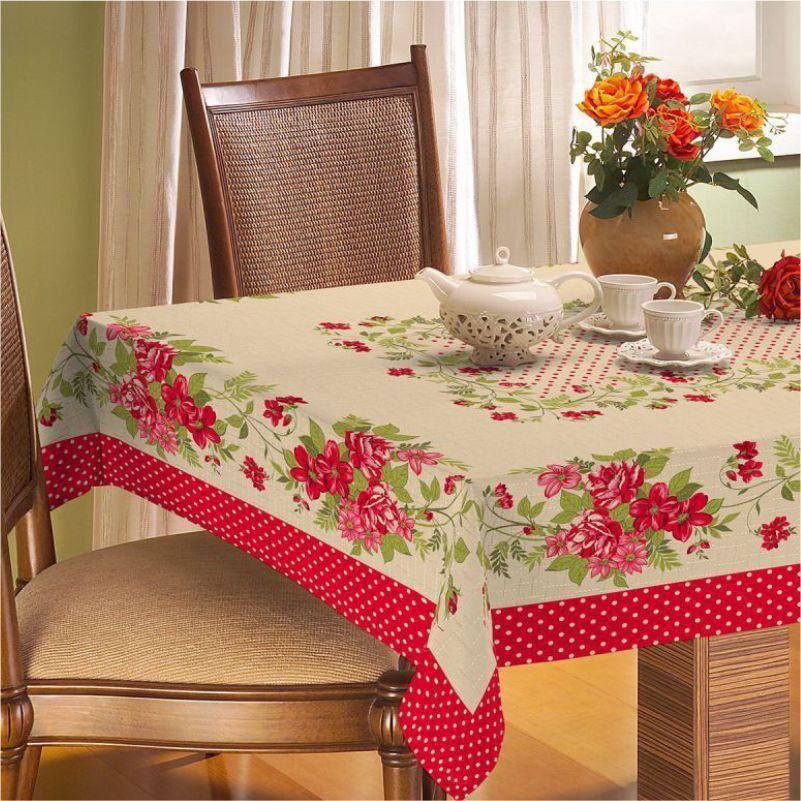 Toalha de Mesa Retangular Rústica Floral Vermelho - Vilela