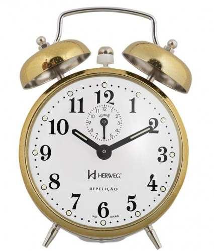 Despertador Herweg 2370 208 Dourado Picoteado Vintage Relógio