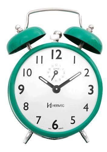 Despertador Herweg 2202 286 Verde Retrô Vintage Relógio