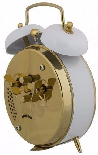 Despertador Herweg 2215 021 Branco Antigo Retrô Relógio