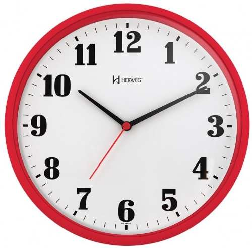 Relógio Parede Herweg 6126 269 Analogico 26cm Vermelho