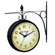 Relógio Parede Herweg 6358 034 Dupla Face Tipo Estação Preto
