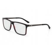Armação Oculos Grau Mormaii Khapa M6045A9756 PRETO VERMELHO COM HASTES EM METAL