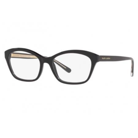 Armação Óculos Ralph Lauren Rl6186 5001 54 Preto Brilho Dourado