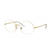 Armação Oculos Ray Ban Oval Rb1970v 3104 54 Branco Dourado