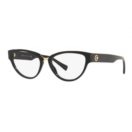 Armação Óculos Versace Ve3267 Gb1 53 Preto Brilho Dourado