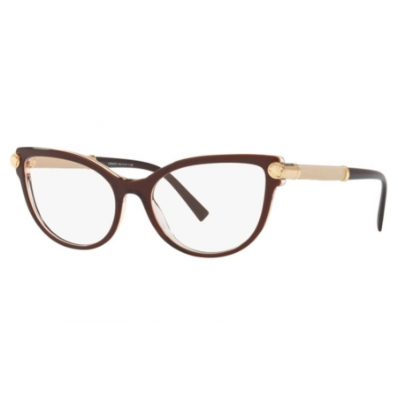 Armação Óculos Versace Ve3270q 5300 54 Marrom Translucido