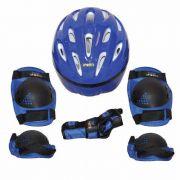 Kit Proteção Para Skate Bel Joelheira Capacete Tamanho G Azul