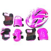 Kit Proteção Para Skate Bike Bel Joelheira Capacete Tamanho M Rosa 411210