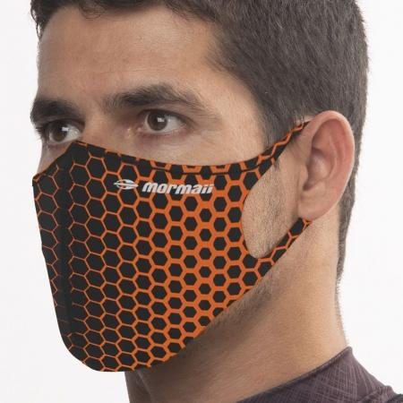 Máscara De Proteção Neoprene Mormaii Lavável Estampada Laranja