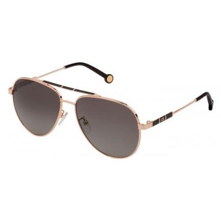 Óculos Solar Carolina Herrera She150 300p 58 Dourado Lente Cinza Degradê Polarizada