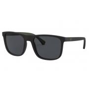 Óculos Solar Emporio Armani Ea4129 504287 56 Preto Fosco Lente Cinza