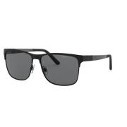Óculos Solar Polo Ralph Lauren Ph3128 939781 57 Preto Fosco Lente Cinza Polarizada - Preto