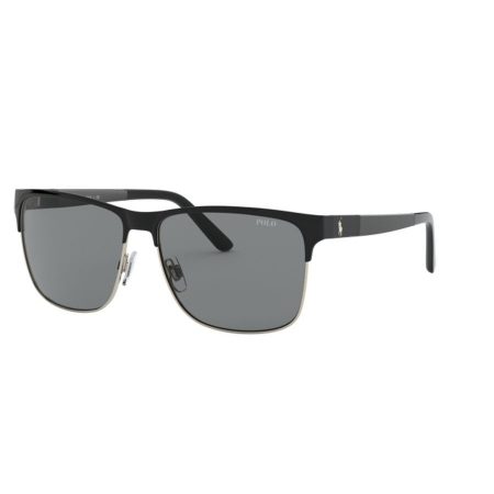 Óculos Solar Polo Ralph Lauren Ph3128 939887 57 Preto Brilho Dourado Lente Cinza