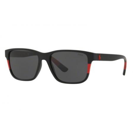 Óculos Solar Polo Ralph Lauren Ph4137 528487 57 Preto Fosco Vermelho