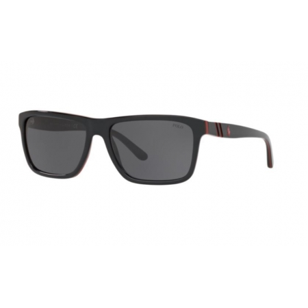 Óculos Solar Polo Ralph Lauren Ph4153 566887 58 Preto Vermelho Lente Cinza