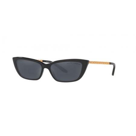 Óculos Solar Ralph Lauren Rl8173 50016g 55 Preto Brilho Lente Preta Espelhada