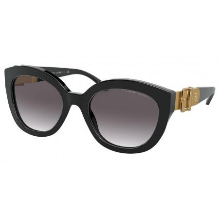 Óculos Solar Ralph Lauren Rl8185 50018g 54 Preto Brilho Lente Cinza Degradê