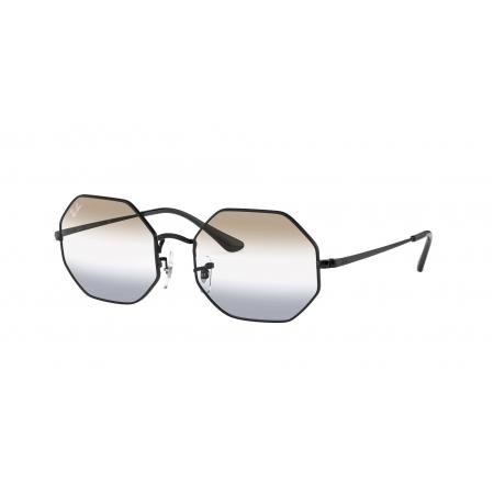 Óculos Solar Ray Ban Octagon Rb1972 002/gb 54 Preto Brilho  Lente Degradê Marrom