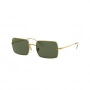 Óculos Solar Ray Ban Retangular rb1969l 919631 54 Dourado  Lente Verde Convencional