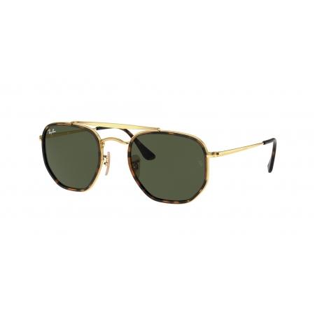 Óculos Solar Ray Ban The Marshal 2 Rb3648m 001 52 Dourado Brilho  Lente  Verde