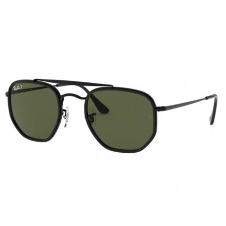 Óculos Solar Ray Ban The Marshal 2 Rb3648m 002/58 52 Preto Brilho  Lente Polarizada Verde