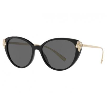 Óculos Solar Versace Ve4351b Gb1/87 55 Preto Brilho Lente Cinza