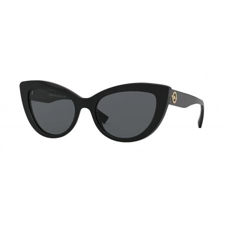 Óculos Solar Versace Ve4388 Gb1/87 54 Preto Brilho Lente Cinza