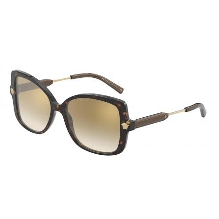 Óculos Solar Versace Ve4390 108/6e 56 Marrom Havana Lente Marrom Degrade Dourado