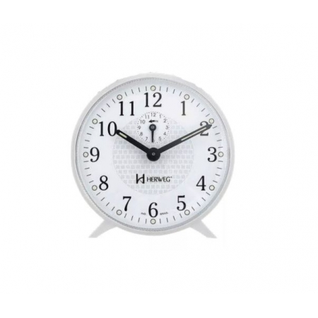 Relógio Despertador Herweg 2220 021 Mecânico Branco