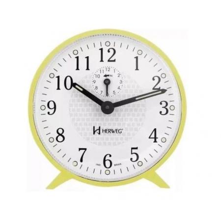 Relógio Despertador Herweg 2220 260 Mecânico Amarelo