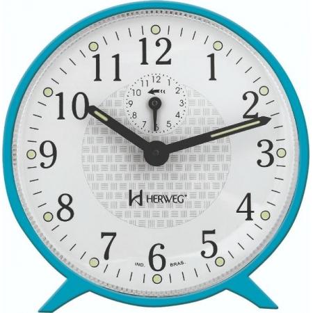 Relógio Despertador Herweg 2220 267 Mecânico Azul