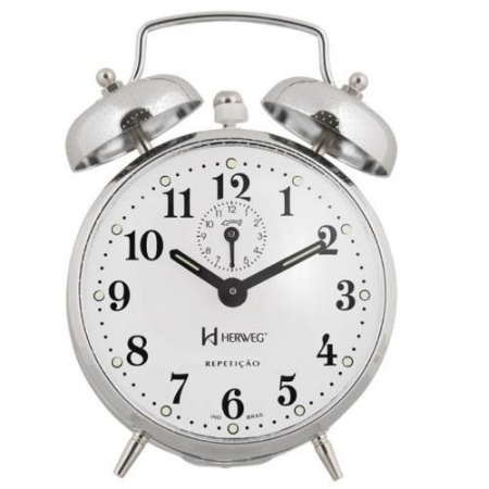 Relógio Despertador Herweg 2370 207 Cromado Picoteado Vintage
