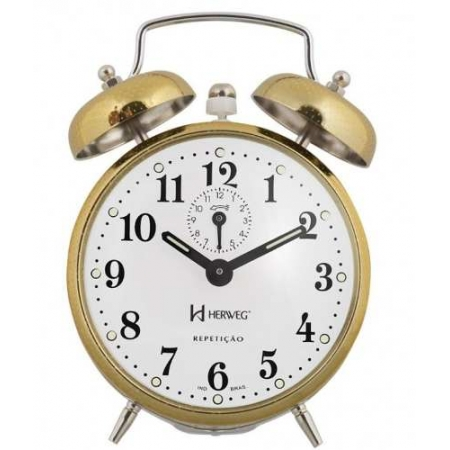 Relógio Despertador Herweg 2370 208 Dourado Picoteado Vintage