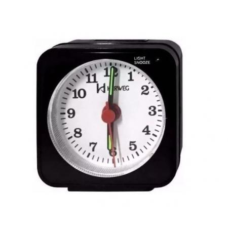 Relógio Despertador Herweg 2510 034 Preto Iluminação Noturna