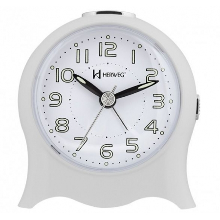 Relógio Despertador Herweg 2572 021 Quartz Fantasminha Branco