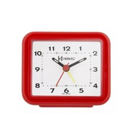 Relógio Despertador Herweg 2612 044 Vermelho Fluorescente