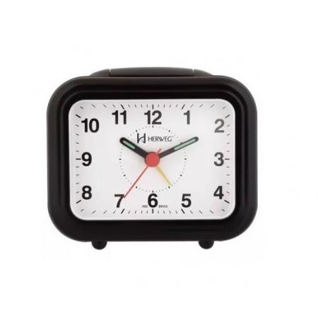Relógio Despertador Herweg 2630 034 Preto Iluminação Noturna