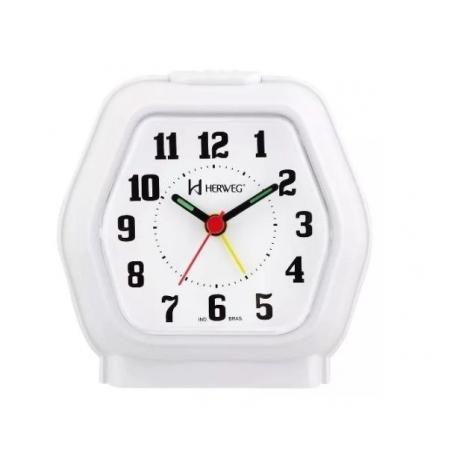 Relógio Despertador Herweg 2635 021 Branco Iluminação Noturna
