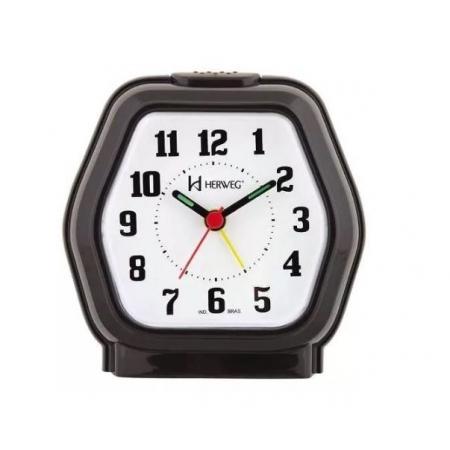 Relógio Despertador Herweg 2635 034 Preto Iluminação Noturna