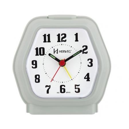 Relógio Despertador Herweg 2635 129 Branco Platina Iluminação Noturna