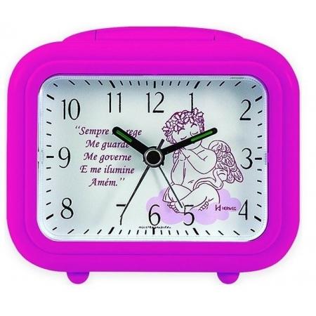 Relógio Despertador Herweg 2649 188 Quartz Oração Rosa