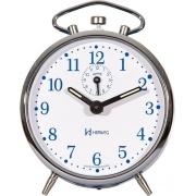 Relógio Despertador Mecanico Herweg 2235 011 Prata Azul