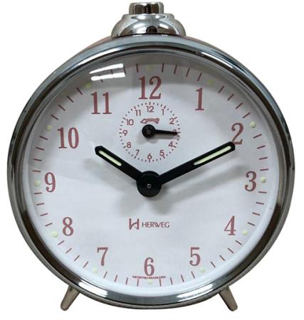 Relógio Despertador Mecanico Herweg 2236 037 Prata Rosa