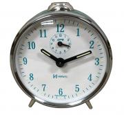 Relógio Despertador Mecanico Herweg 2236 310 Prata Azul