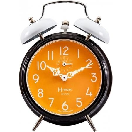Relógio Despertador Mecanico Herweg 2383 034 Preto Laranja Branco