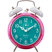Relógio Despertador Mecanico Herweg 2383 306 Rosa Branco Verde