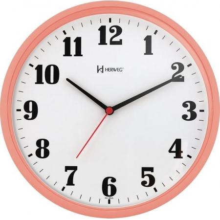 Relógio Parede Herweg 6126 313 Redondo 26cm Salmão