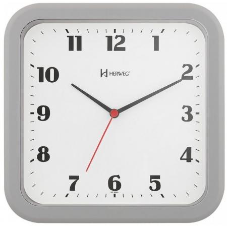 Relógio Parede Herweg 6145 024 Quadrado Cinza
