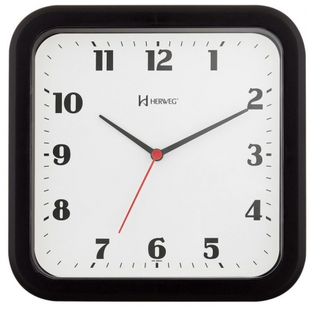 Relógio Parede Herweg 6145 034 Quadrado Preto